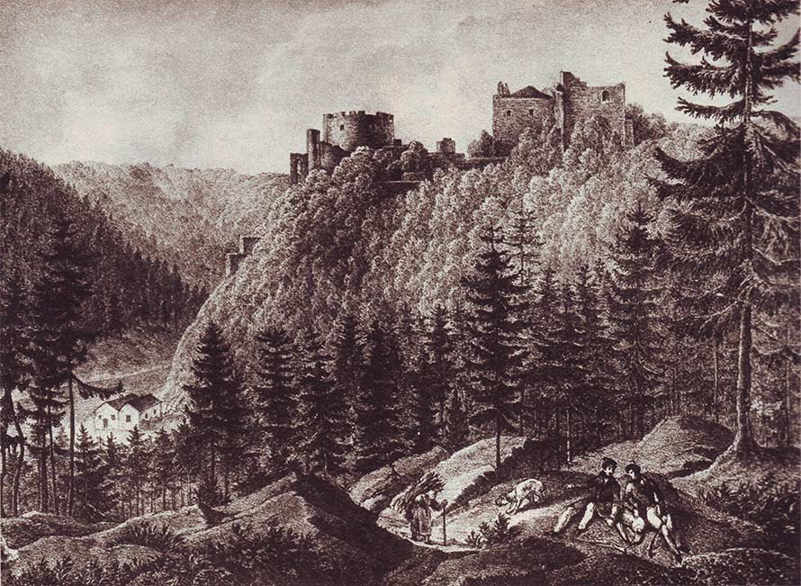 Historisches Bild des Schlosses Nový Hrádek